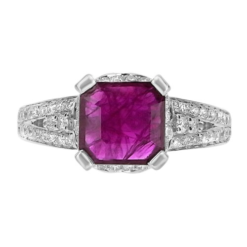 Ruby Sq. Octagon with Diamond Surround & Fancy Shoulders Ring