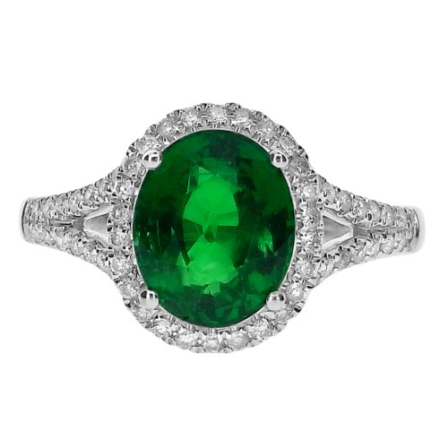 Tsavorite Oval with Diamond Halo Surround Ring