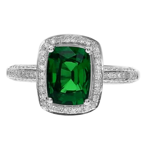 Tsavorite Cushion with Diamond Surround & Shoulders Ring