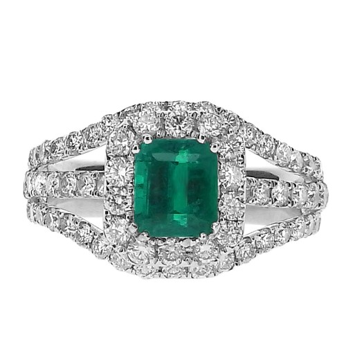 Emerald with Diamond Halo & Triple Split Shoulders Ring