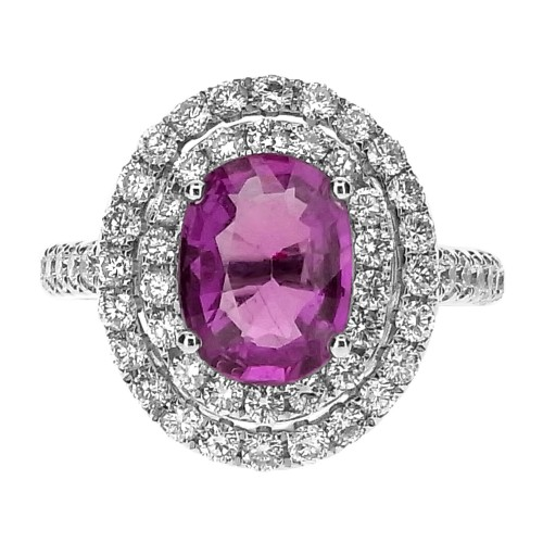 Pink Sapphire Oval with Double Diamond Halo Ring