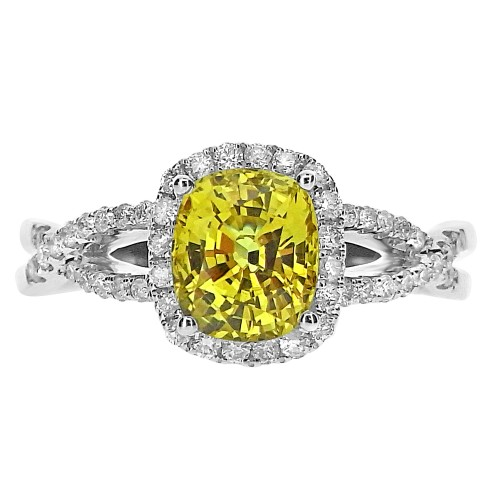Yellow Sapphire with Diamond Surround & Fancy Shoulders Ring
