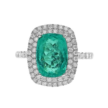 Paraiba Tourmaline & Diamond Double Surround Ring