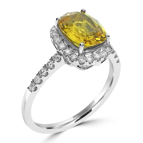 Yellow Sapphire & Diamond Surround Ring
