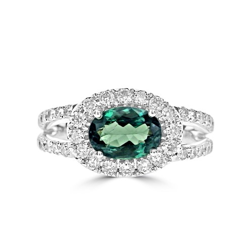 Alexandrite Oval & Diamond Halo Ring