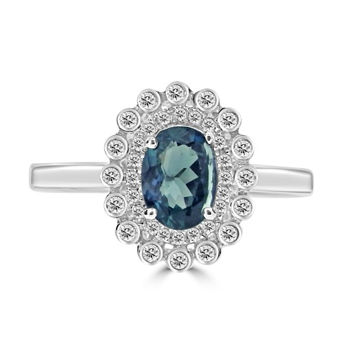 Alexandrite 0.78ct Oval w/ 36x RBC 0.19ct Dia Halo & Cluster Ring