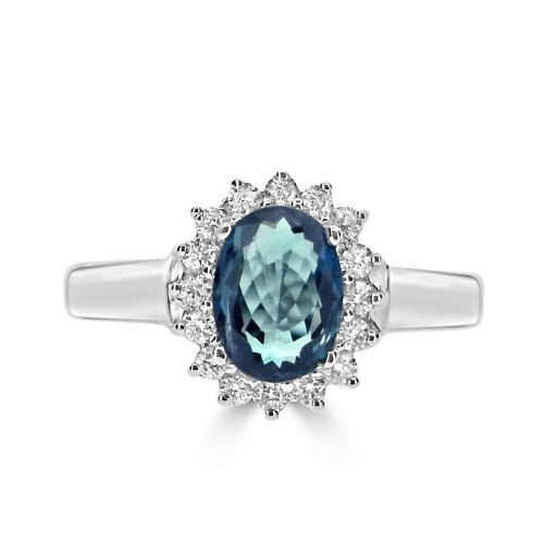 Alexandrite Oval & Diamond Cluster Ring