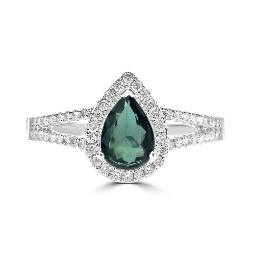 Alexandrite Pear & Diamond Halo Ring