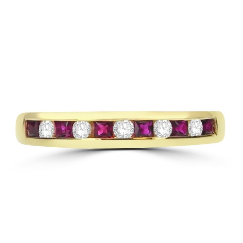 Ruby Square & Diamond RBC Half Eternity Ring