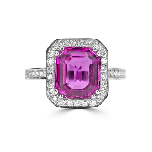 Pink Sapphire with Diamond Halo Surround, Sides & Shoulders  Ring