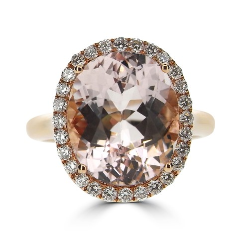 Morganite with Diamond Halo Ring