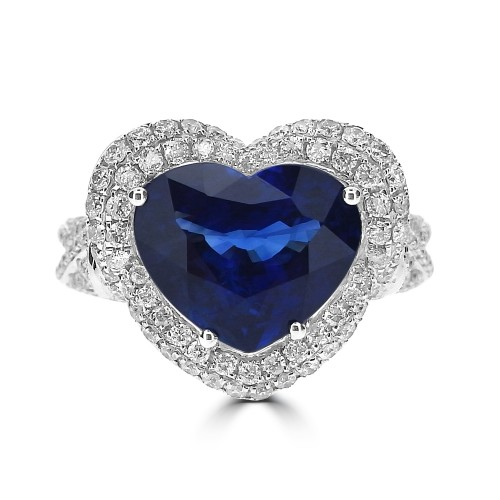 Sapphire Heart Shape with Diamond Fancy Halo Surround Ring