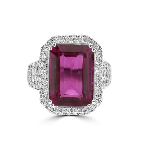 Rubellite with Diamond Pave Halo Surround Ring