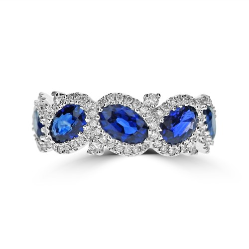 Sapphire Oval & Diamond RBC Fancy Halo Half Eternity Ring
