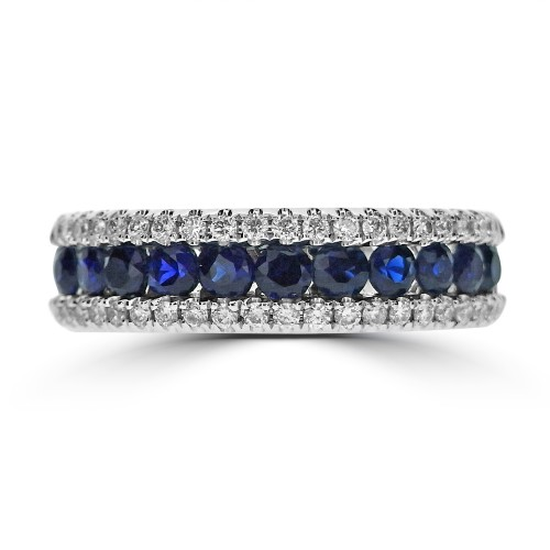 Sapphire Round & Diamond RBC Pave Half Eternity Ring