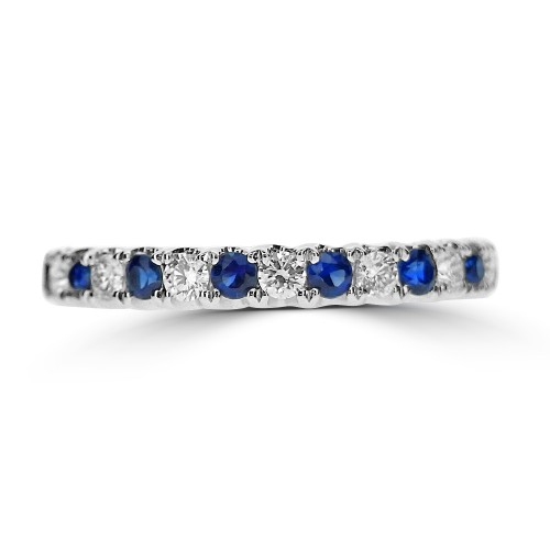 Sapphire & Diamond Claw Set Eternity Ring