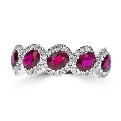 Ruby Oval & Diamond RBC Fancy Halo Half Eternity Ring