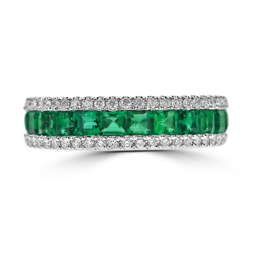 Emerald Squares & Diamond RBC Pave Fancy Half Eternity Ring
