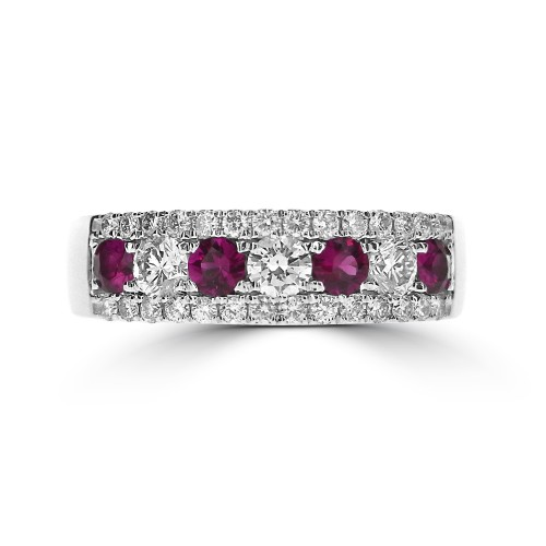 Ruby Round & Diamond RBC Pave Fancy Half Eternity Ring