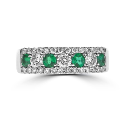 Emerald Round & Diamond RBC Pave Fancy Half Eternity Ring