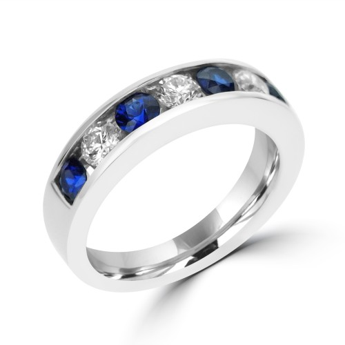 Sapphire & Diamond Channel Set Eternity Ring