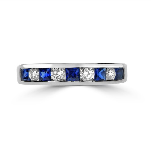 Sapphire Square & Diamond Channel Set Eternity Ring
