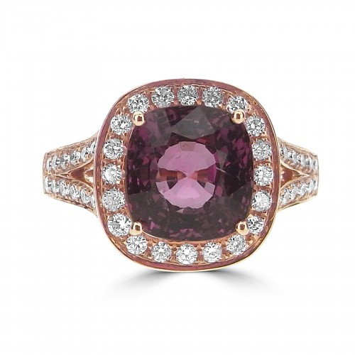 Pink Tourmaline Cushion Halo & Split Shoulders Ring