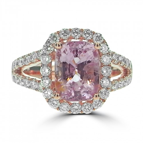 Pinky Peach Sapphire Cushion with Diamond Halo Ring
