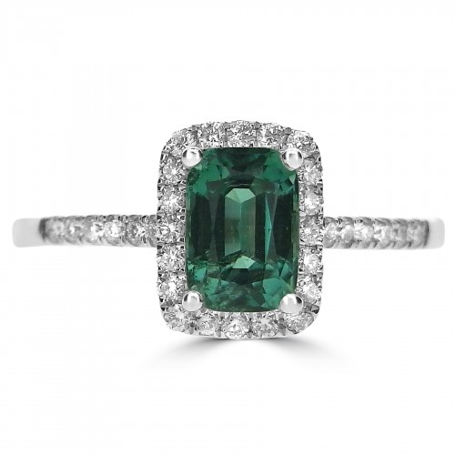 Green Tourmaline Octagon Halo Ring