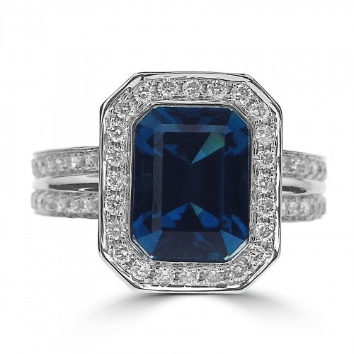 Indigo Tourmaline Octagon Halo & Split Shoulders Ring
