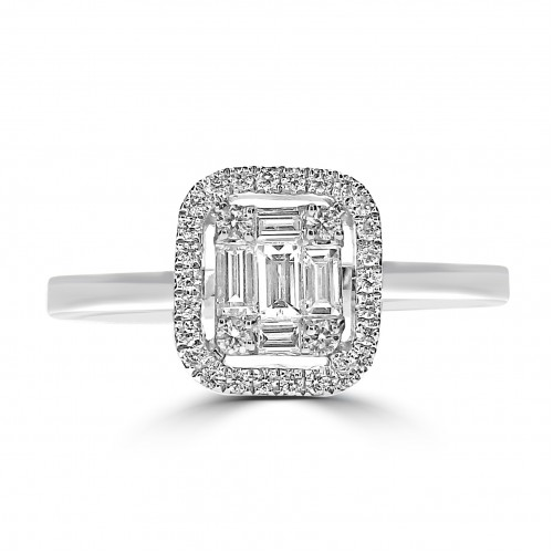 Octavia Halo Plain Shoulder Ring