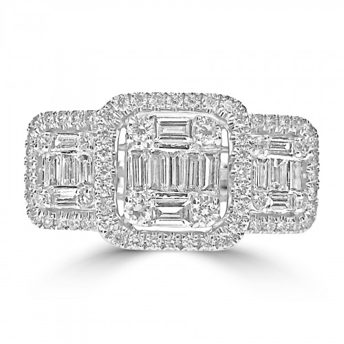 Octavia 18WG RBC w/ Baguette 3 Stone Style 3 Halo Fancy Ring