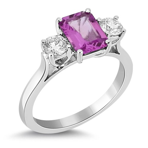 Pink Sapphire Emerald Cut & Diamond Ring