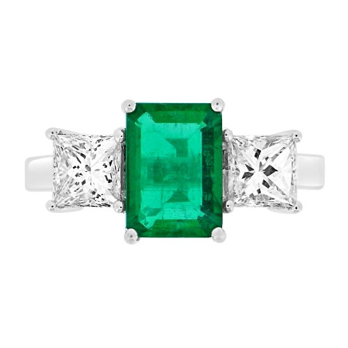 Emerald & Princess Cut Diamond 3 Stone Ring