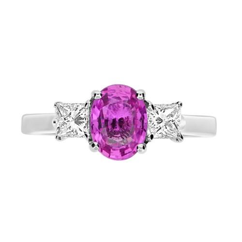 Pink Sapphire Oval & Diamond Ring