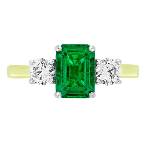 Emerald & Diamond RBC 3 Stone Ring