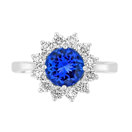 Tanzanite Round with Diamond Cluster Ring