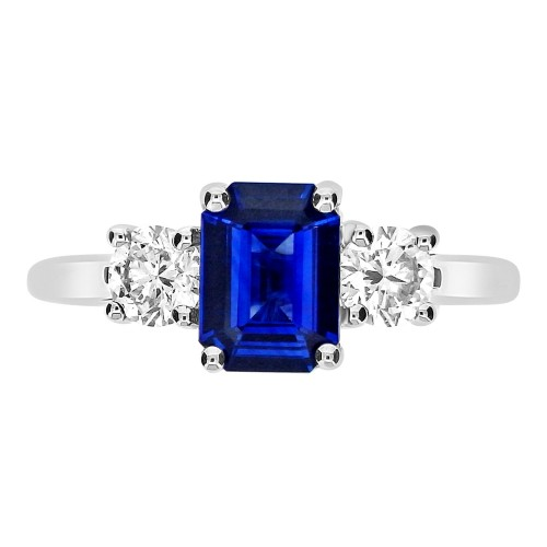 Sapphire with Diamond RBC 3 Stone Ring