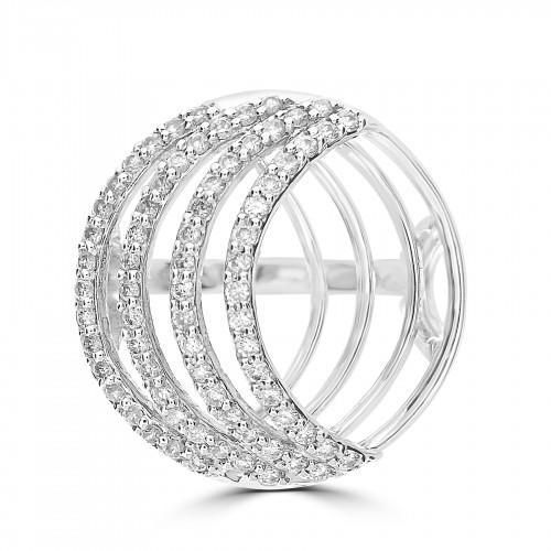 18WG Multi Circle Design w/ 4 Sections RBC Pavé Ring