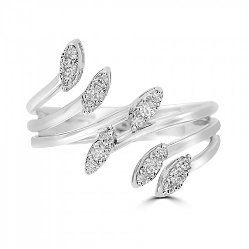18WG 3 Band Crossover Style Ring, Ends Marquise Shapes Set w/ 3 RBC