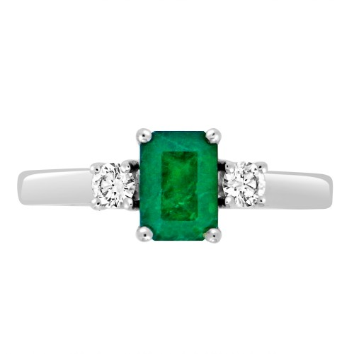 Emerald Octagon & Diamond RBC 3 Stone Ring