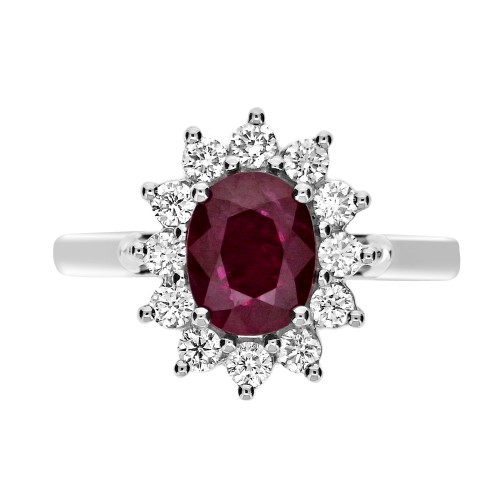 Ruby Oval and Diamond Cluster Ring
