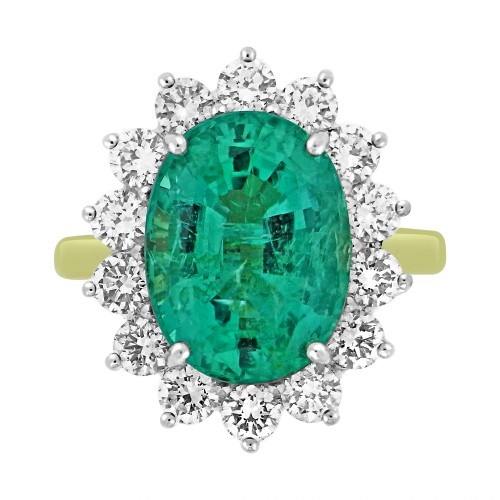 Emerald Oval & Diamond Cluster Ring