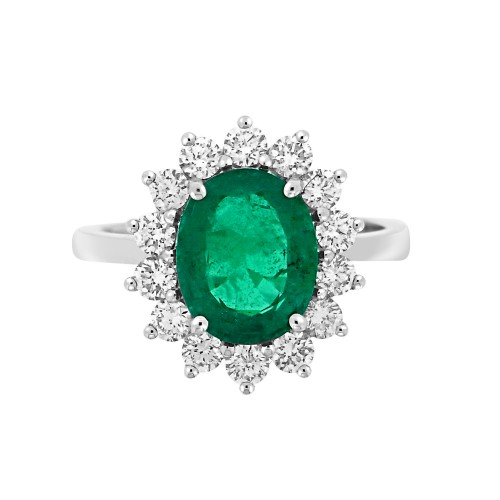 Emerald Oval with Diamond RBC Cluster Ring