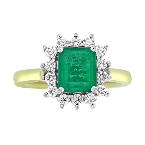 Emerald Square Octagon & Diamond RBC YWG Cluster Ring