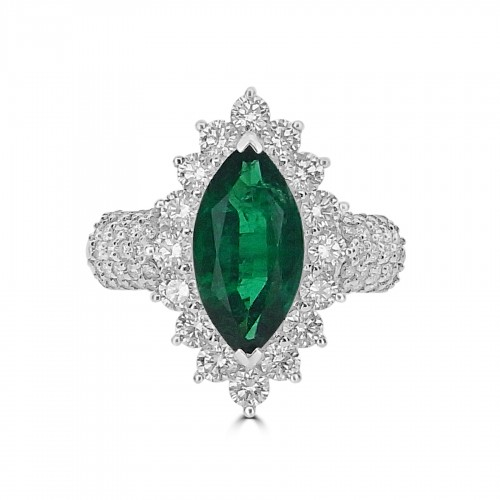 Emerald Marquise 2.22ct w/ 66x RBC Diamond 1.32ct Cluster & Shoulders Ring