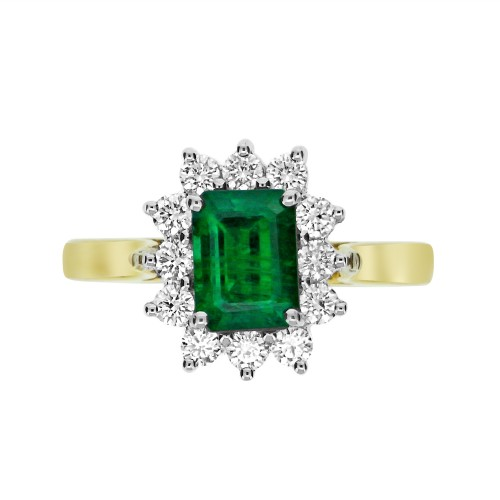 Emerald Octagon & Diamond RBC YWG Cluster Ring