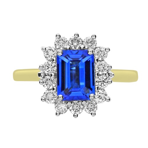 Tanzanite Emerald Cut with Diamond Cluster Ring