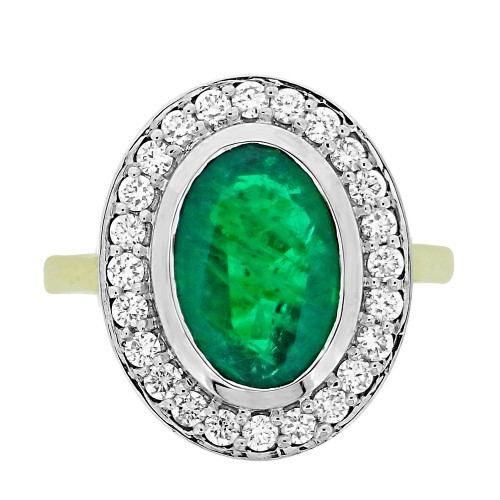 Emerald Oval with Diamond RBC Rubover Cluster Ring