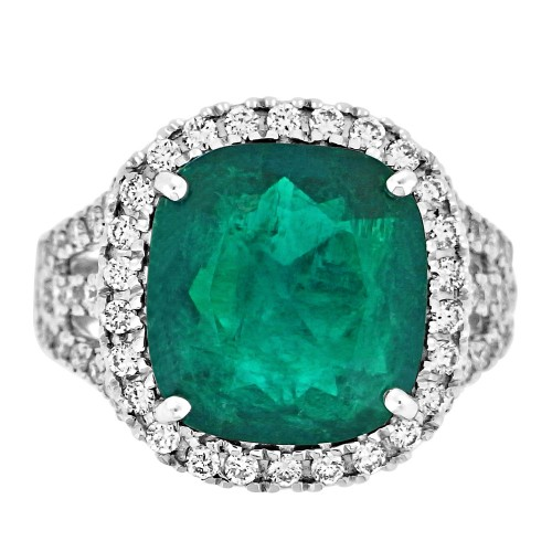 Emerald Cushion 5.45ct w/ RBC Pavé Halo & Shoulder Ring
